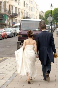 Following the newlyweds through the streets of Brighton